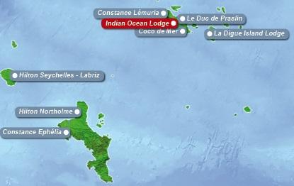 Detailkarte der Seychellen mit eingezeichnetem Hotel Indian Ocean Lodge fuer Heiraten im Ausland.