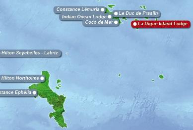 Detailkarte der Seychellen mit eingezeichnetem Hotel La Digue Island Lodge fuer Heiraten im Ausland.