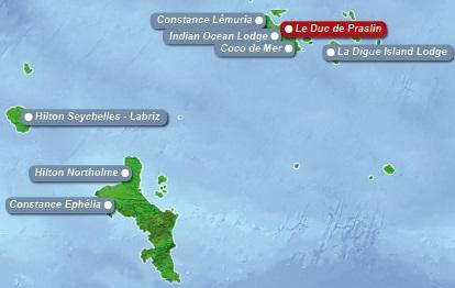Detailkarte der Seychellen mit eingezeichnetem Hotel Le Duc de Praslin fuer Heiraten im Ausland.