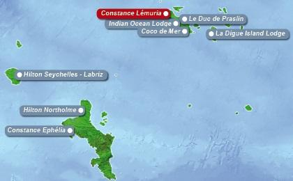 Detailkarte der Seychellen mit eingezeichnetem Hotel Constance Lemuria fuer Heiraten im Ausland.