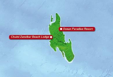 Detailkarte von Zanzibar mit eingezeichneten Orten mit Hotels fuer Heiraten im Ausland.