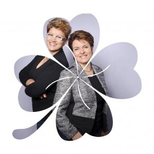 Kleeblatt mit einem Foto von Marion und Angelika Klee.