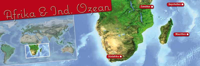 Landkarte des Indischen Ozeans und Suedafrika. Fuer Heiraten im Ausland.