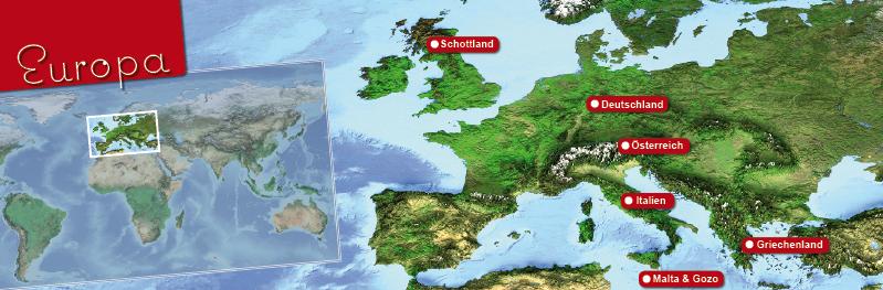 Landkarte von Europa mit Hervorhebung der Länder in denen Honeymoon Highlights Hochzeitshotels hat.