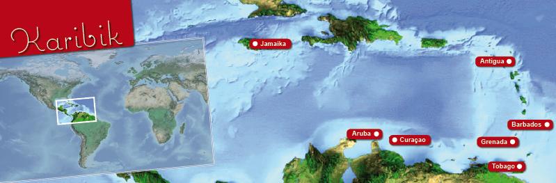 Die Karibik und ihre Inseln auf einer Landkarte.