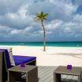 Strandliegen auf der Terrasse mit Blick auf das Meer im 4-Sterne Plus Hotel Bucuti & Tara Beach Resort.