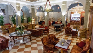 Die Lounge im 5-Sterne Hotel Due Torri in Verona. Romantische Heirat in Italien.
