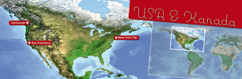 Gesamtkarte USA und Kanada die schoensten Orte fuer Heiraten im Ausland.
